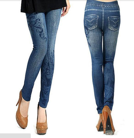 Women Vintage Jeans Tights Pants Tight Stretch Skinny Leggings Trouser