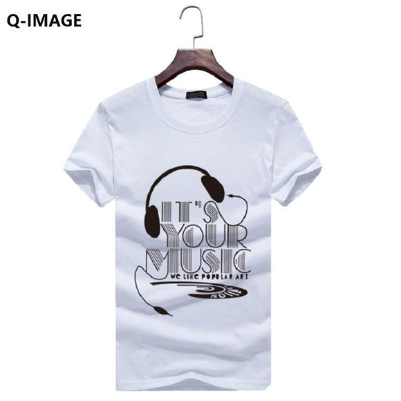 Q-IMAGE New Fashion Mens Short Sleeve T-shirts  2017 Summer Style Slim Men's T-Shirts Brand Clothing Plus Size
