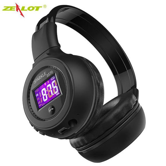ZEALOT B570 Foldable Stereo Hifi Bluetooth Headphone Wireless Headset With LCD Screen Micro-SD Card Slot Mic FM Radio For Music