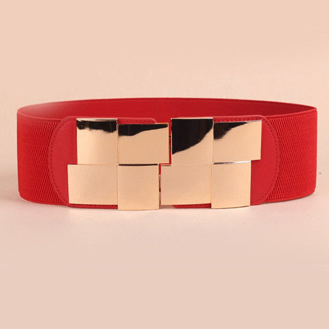 HOT Fashion Women Belt Korean Stretch Elastic Waistband Wide Metal Waist Belts Simple fashion box mirror girdle