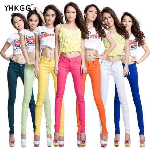 New Autumn Fashion Pencil Jeans Woman Candy Colored Mid Waist Full Length Zipper Slim Fit Skinny Women Pants