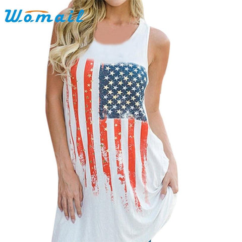 American flag Printed White Tank Top