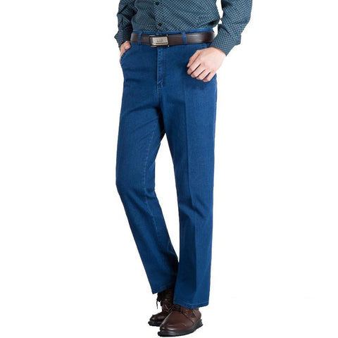 Loose Elastic Mens Jeans High Waist Straight Trouser Man Working Pants Famous Brand Blue Male Jeans Designer Classic Denim Jeans