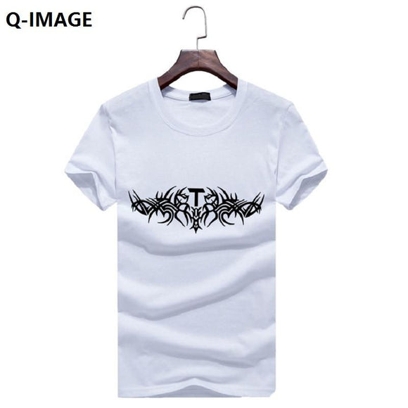 Q-IMAGE Summer Top T Shirt Men Clothing Short Sleeve Man's TShirt Rock Music Hip Hop  T-Shirts Boy tees