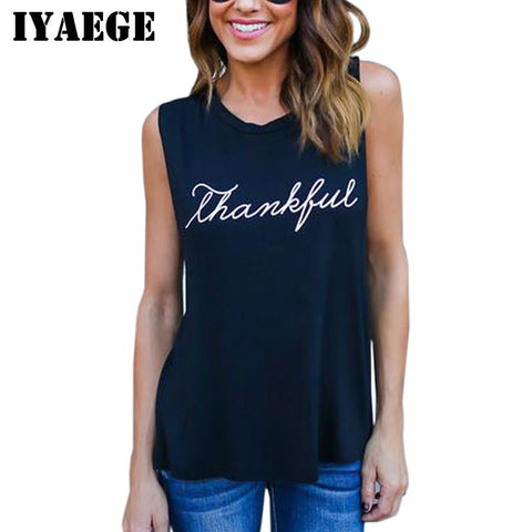 IYAEGE Tank Top 2017 New Women Casual Letter Print T-shirts Sexy O-neck Sleeveless Summer Tops Vest Tanks Streetwear Plus Size