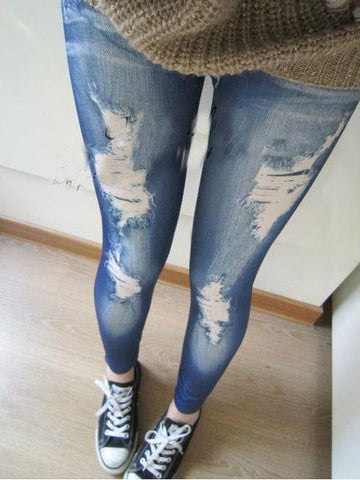 Women Stretch Cotton Fake Hole Imitation Jeans Polyester Spandex Leggings Sexy Pants Clearance