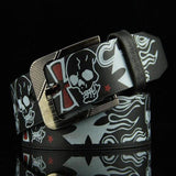 Liva Girl Hot Sale Cool Skull Printed Pattern Belts Women Men Belts PU Leather Alloy Buckle Skeleton Waistband Male Accessories