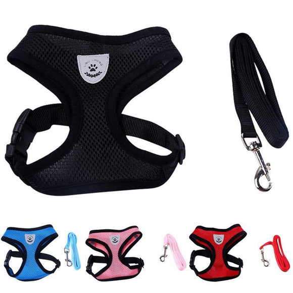 Small Dog Breathable Mesh Harness and Leash Set