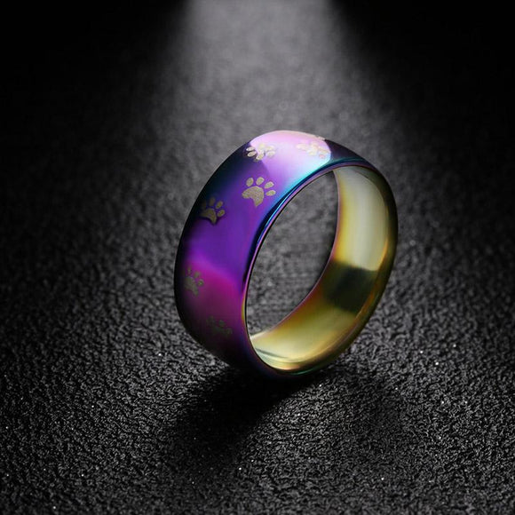 STAINLESS STEEL & RAINBOW PAW PRINT MEMORIAL RINGS