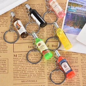 Hot 1PC 2018 Trendy New Women/Men's Fashion Handmade Wine Bottle Key Chains Key Rings Alloy Charms Gifts Wholesale