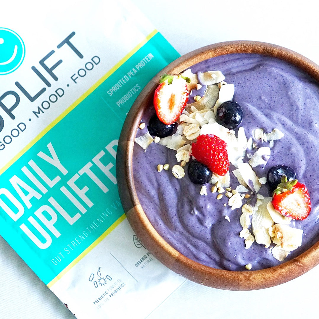 uplift food daily uplifter prebiotic supplement smoothie bowl recipe probiotics gut health