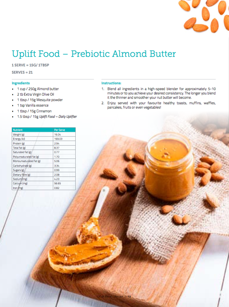 Uplift Food Good Mood Food Menu Prebiotic Almond Butter