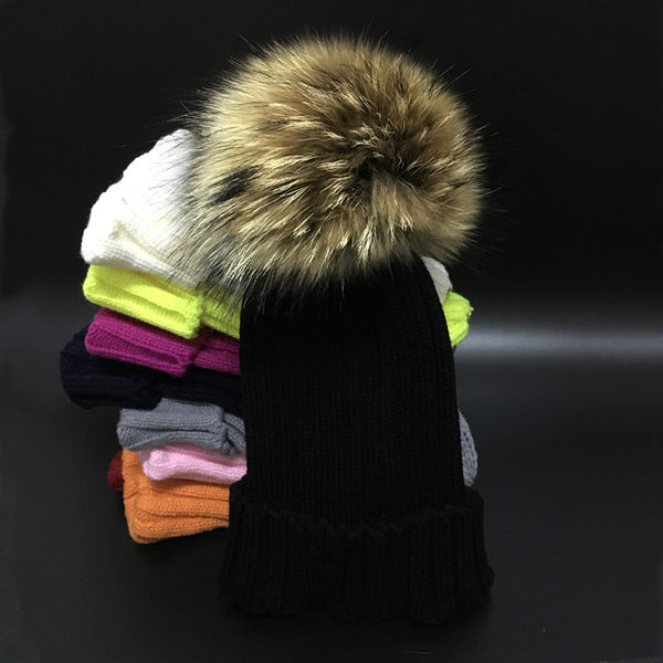Winter Girls Boys Fur Pom Pom Beanies Hats Cotton Beanies Cap For Baby  Lovely Winter Knitted Hats With Fur PomPom Hats Kids ac773c79ce5