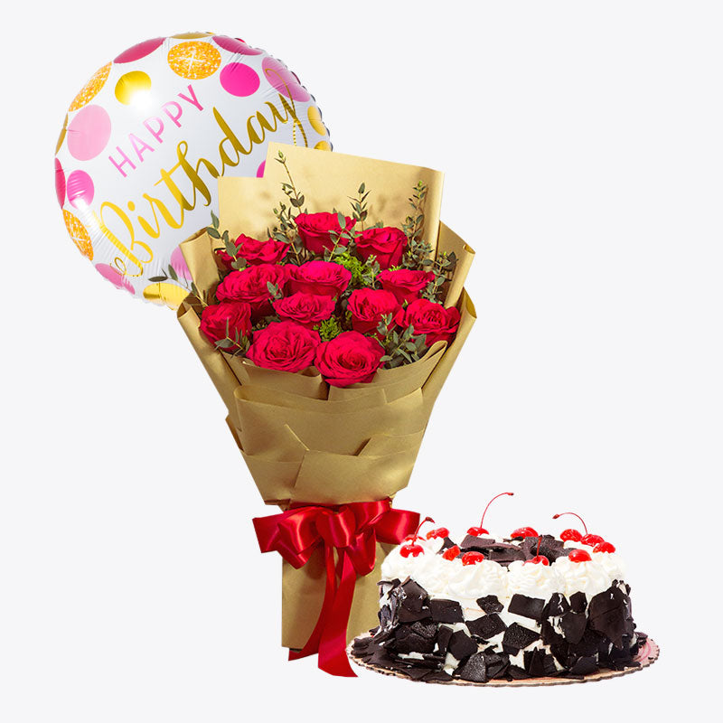 12 Red Roses Korean Style + Black Forest Cake Bundle