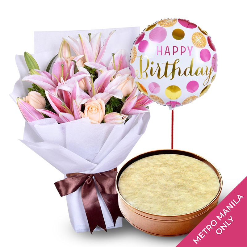 Lily Bouquet + Mango Dream Cake Bundle