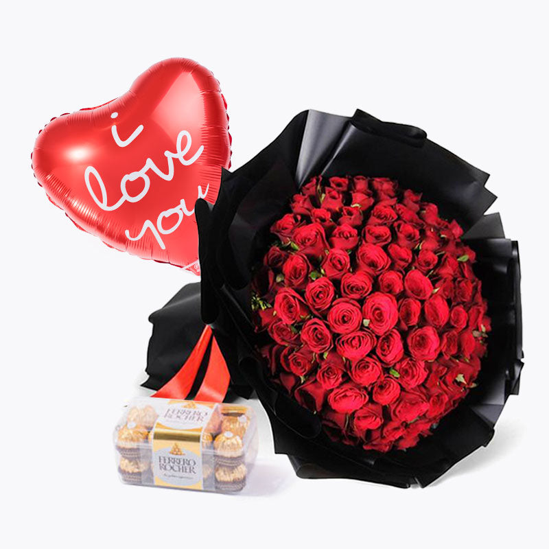 99 Red Roses Midnight Edition Love Bundle