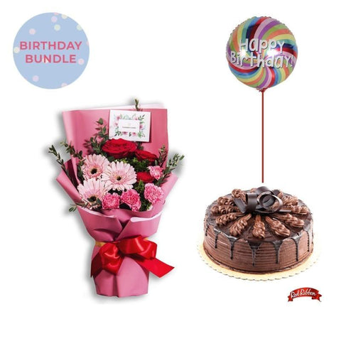 Pink Blush + Chocolate Indulgence Cake Bundle Flowers_Bouquet