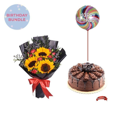 Sweet Sunrise + Chocolate Indulgence Cake Bundle Flowers_Bouquet