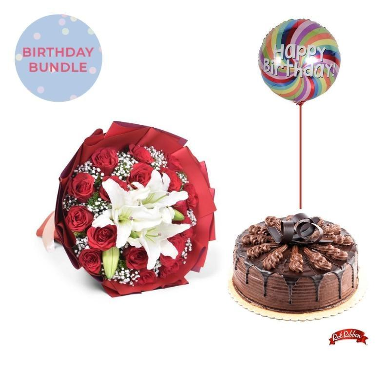 Sweetheart + Chocolate Indulgence Cake Bundle Flowers_Bouquet
