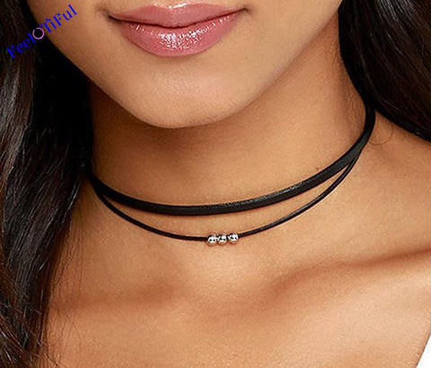 Black Punk Flannel Pearl Double Chain Collar Choker