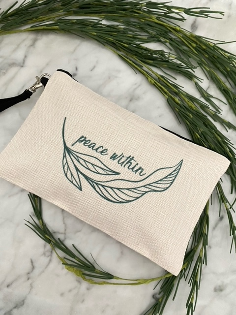 Peace Within Linen Zippered Bag
