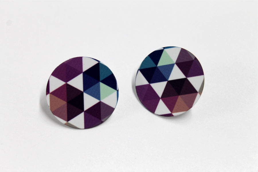 Vibrant Hex Mix 1 Inch Earrings