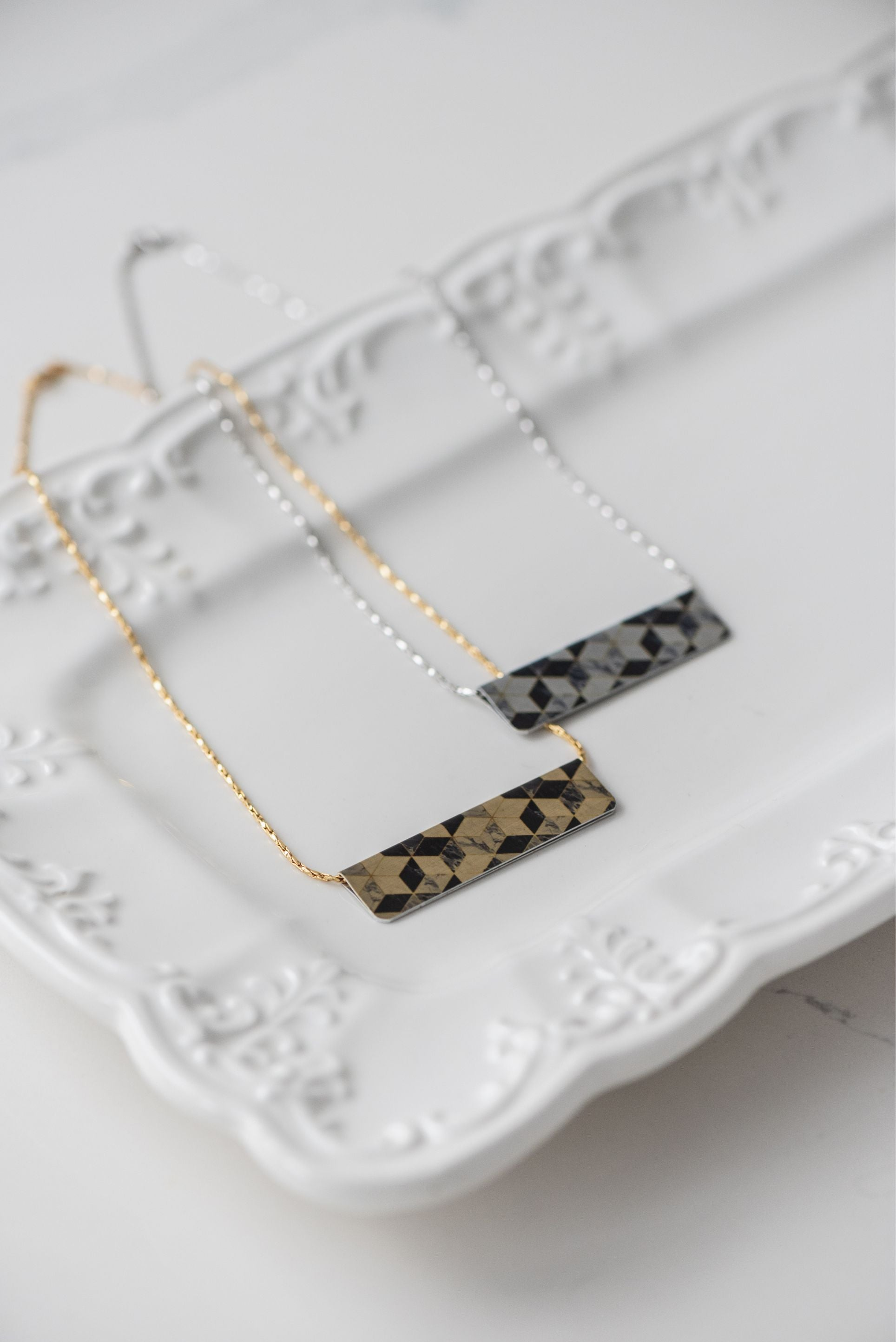 Marble Mosaic Bar Necklace