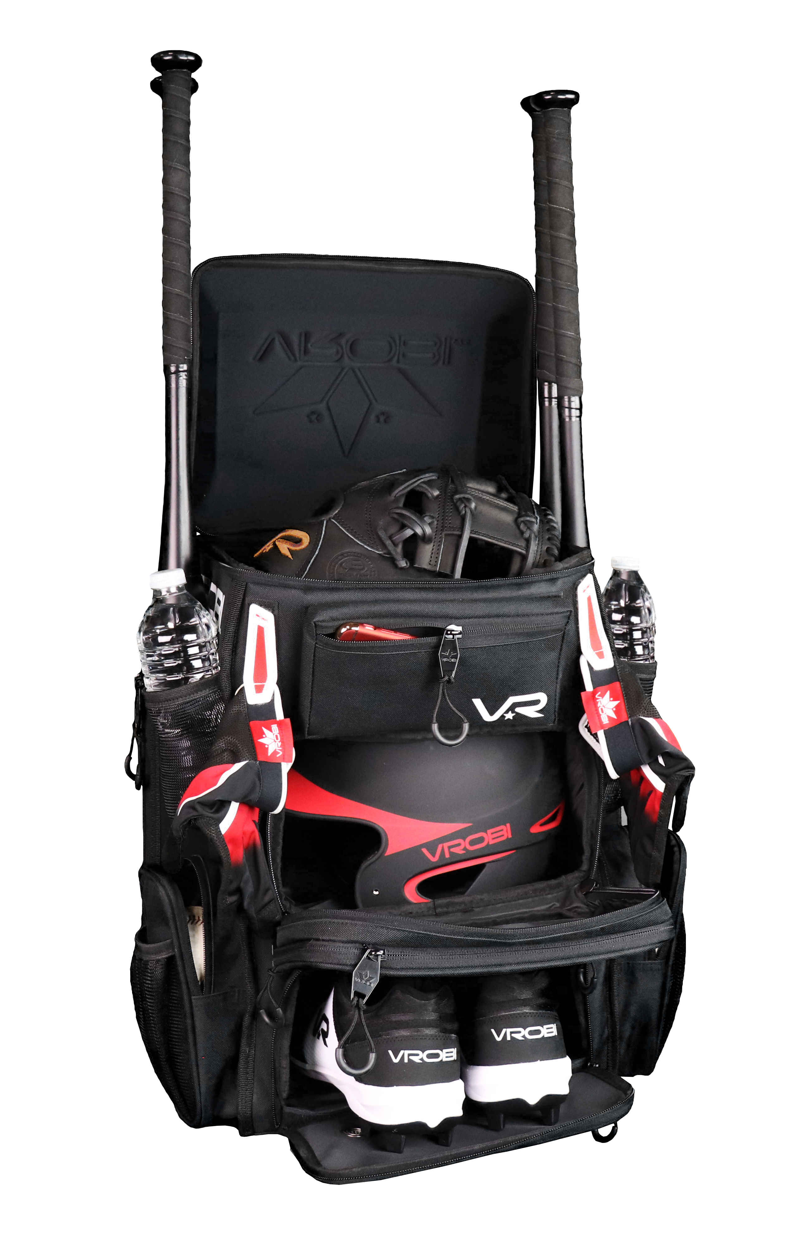 Soldier HS Reloaded Bat Pack packed with gear showcasing hard shell glove compartment, 4 bat holders, footwear compartment. Designed for Youth Baseball, Adult Baseball, Slowpitch Softball and Fastpitch Softball Players.