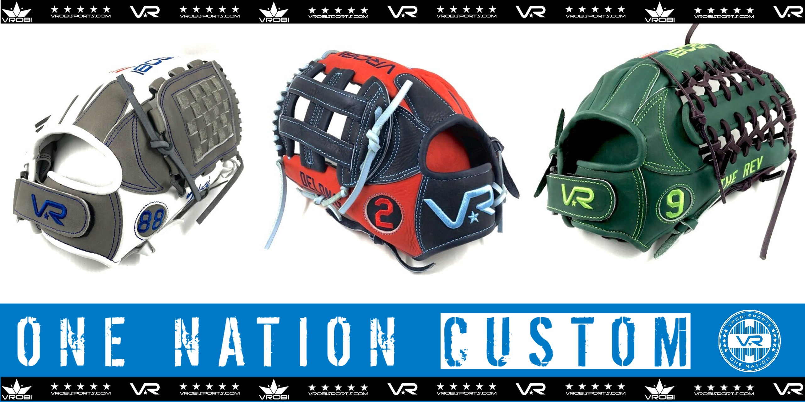 Custom One Nation Fielders Gloves Shown in different colors and looks