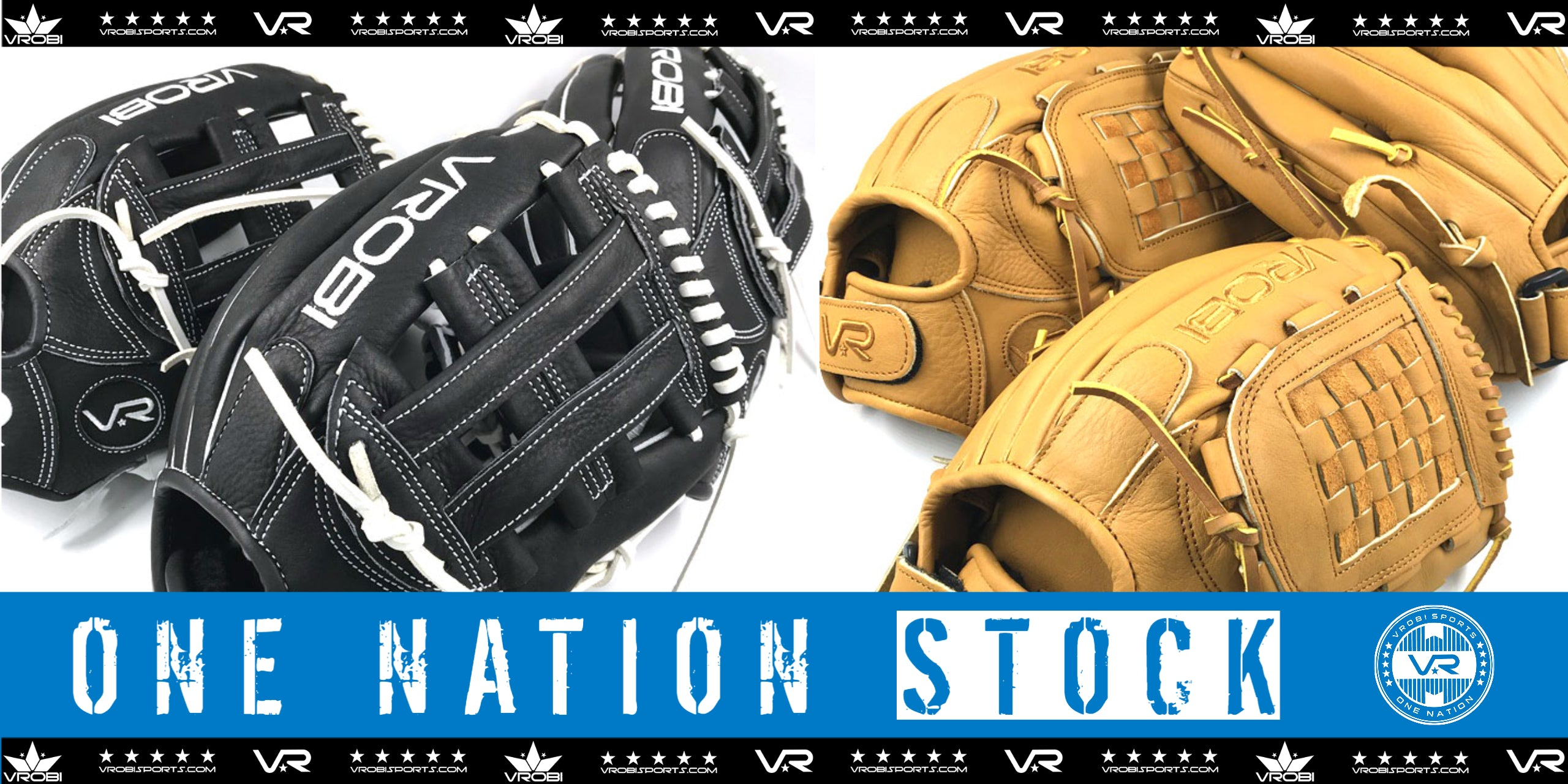 Stock One Nation Fielders Gloves Shown in Black/White and Toffee/Tan Options