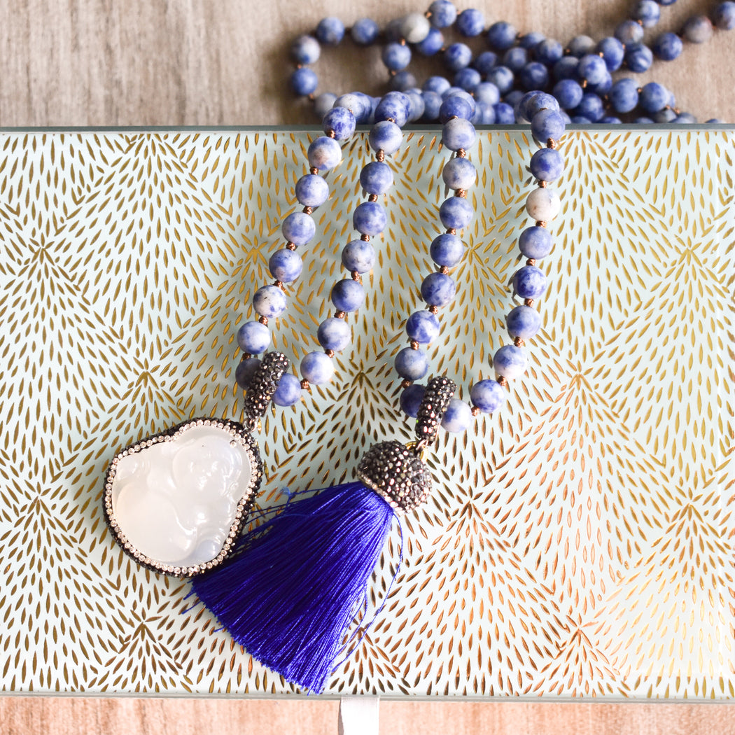 Sodalite  Buddha Necklace with Tassel