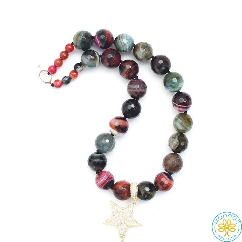 Madagascar Agate Necklace with Star