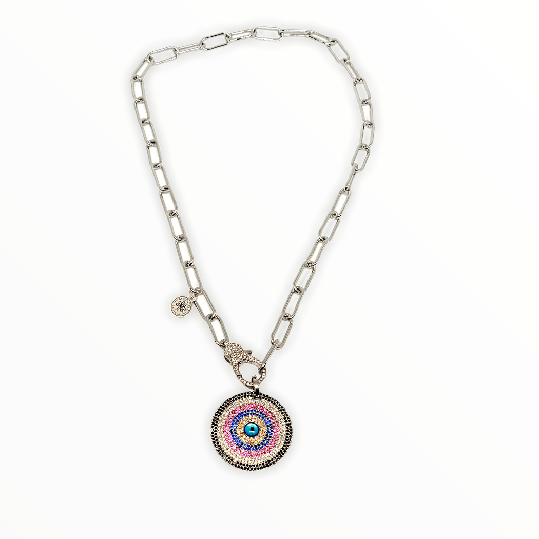Evil Eye, Sprin20, Star Evil Eye Chain Necklace Mannaz Designs Evil Eye in Silver with link chain
