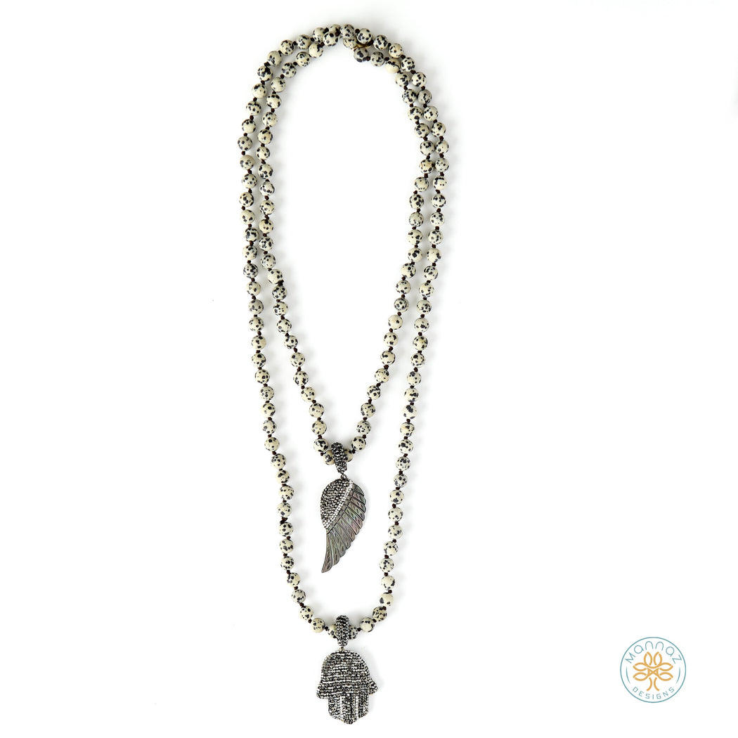 Dalmatian Jasper Necklace with Hamsa & Angel Wing