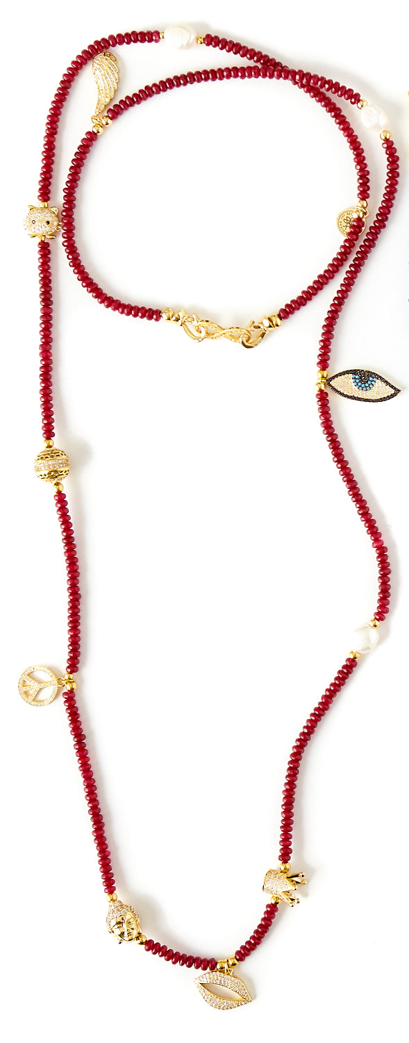 Mannaz Charms Necklace in Red