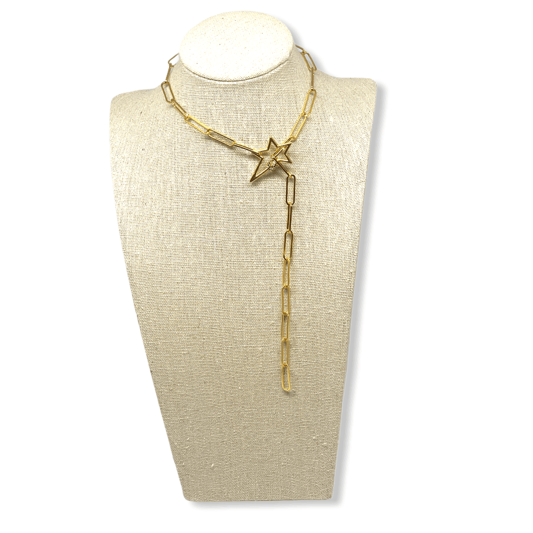 fall20 star Chain Necklace Mannaz Designs Stardust and Lighting Gold Necklace
