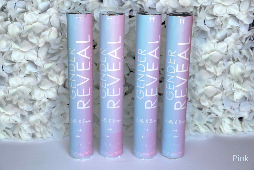 Pink, Girl Gender Reveal Confetti Cannon (4 Pack) Belle & Beau Confetti Co- GenderRevealCannons.com