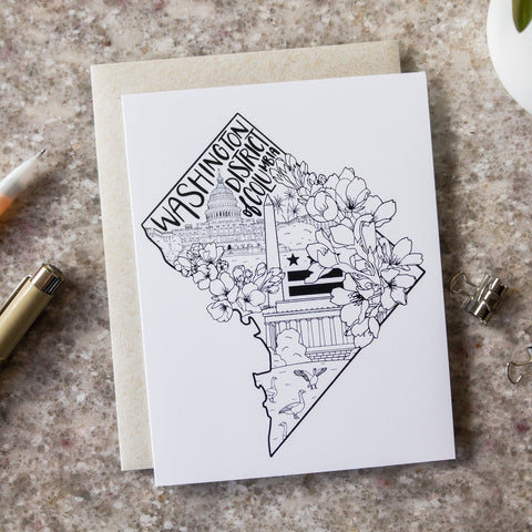 Washington DC Monuments - Greeting Card