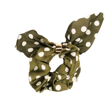 Headbands of Hope - Green Polka Dot Tie Scrunchie