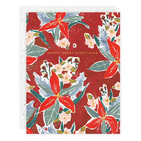 Red Poinsettia Seedlings Card