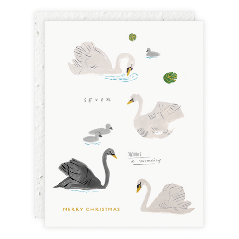 Seven Swans a Swimming Card