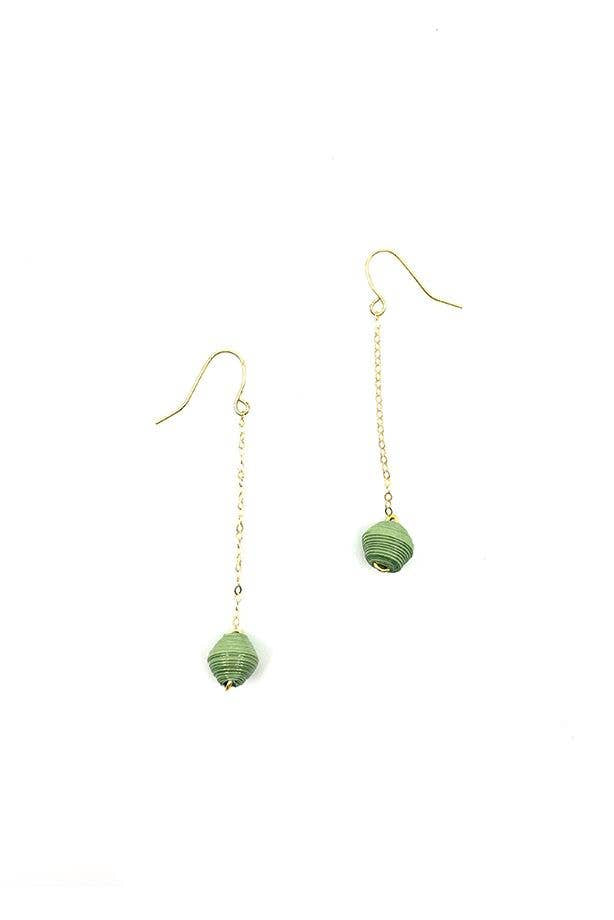 Dreamer & CO - The Dainty Drop Earrings - Olive Green