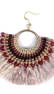 Beaded Half Moon Tassel Earrings - Thailand