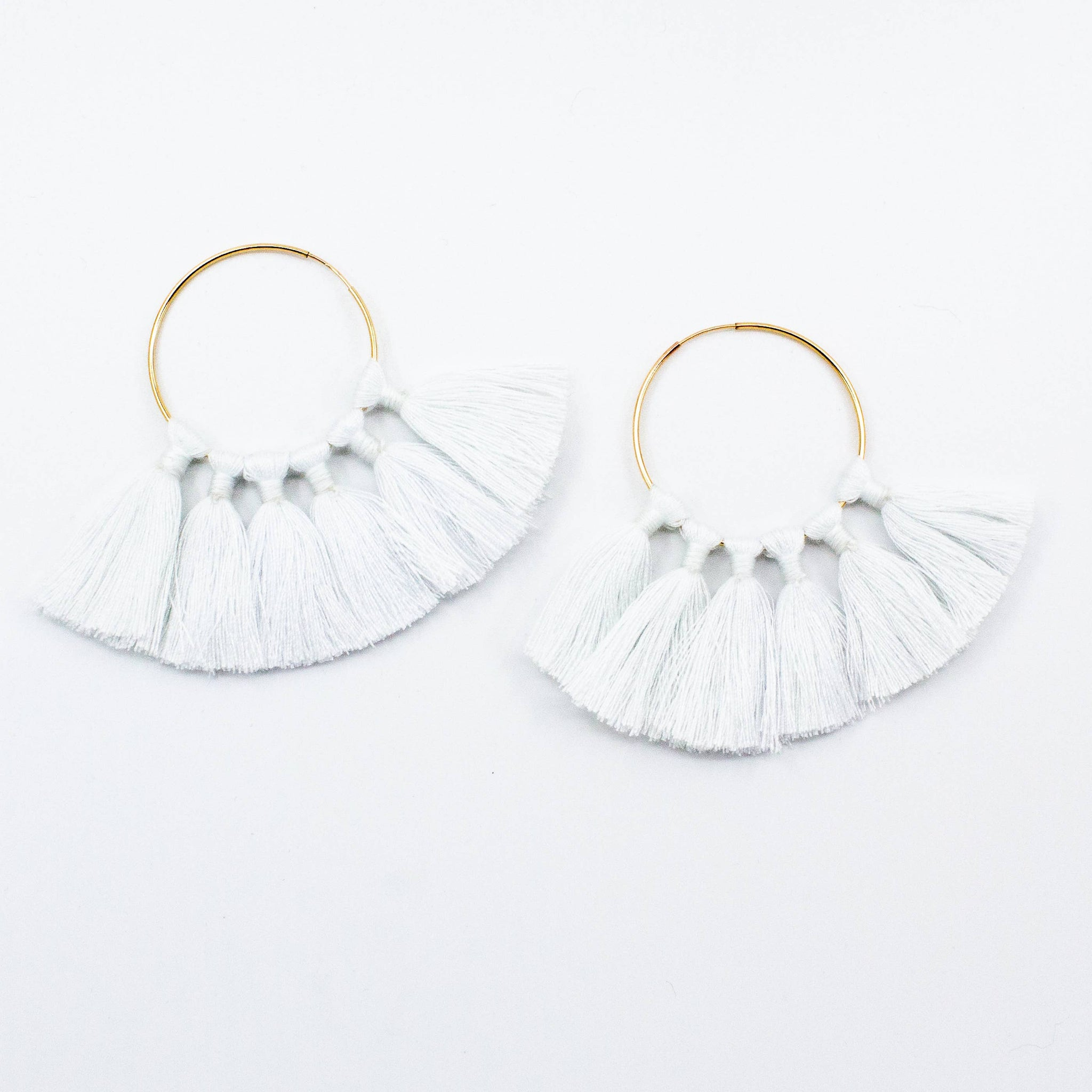 The Tassel Hoop Earrings - White