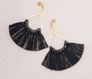 The Ava Tassel Earrings - Black