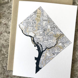 Washington, DC Map Greeting Card