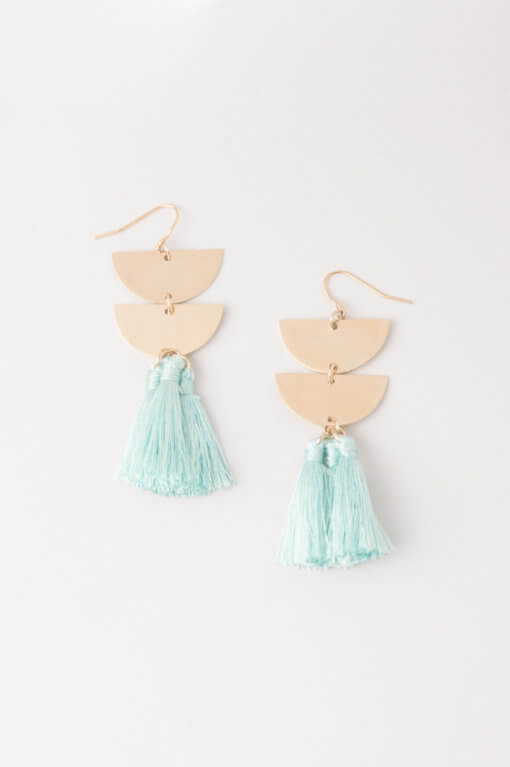 The Lacey Tassel Earrings in Seafoam