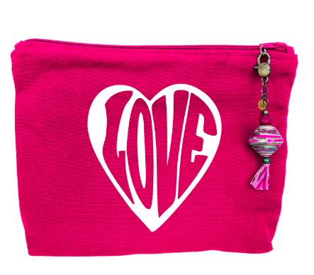 """Love"" Canvas Zipper Pouch"
