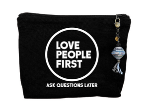 """Love People First"" Canvas Zipper Pouch"