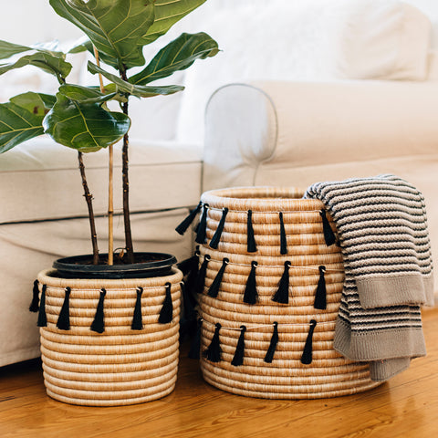 Sutton Woven Storage Basket and Onyx Tassel Set